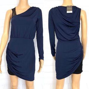 Topshop Ruched Navy Blue Dress